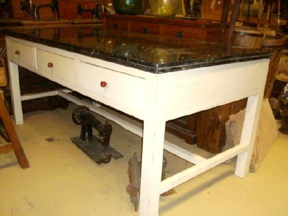 Ref: MEC022 Mesa cocina antigua de 6 cajones tapa de granito Mesa ...